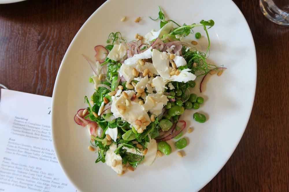 Broad beans, peas, pea shoots, red onion, pine nuts and cacioricotta salad