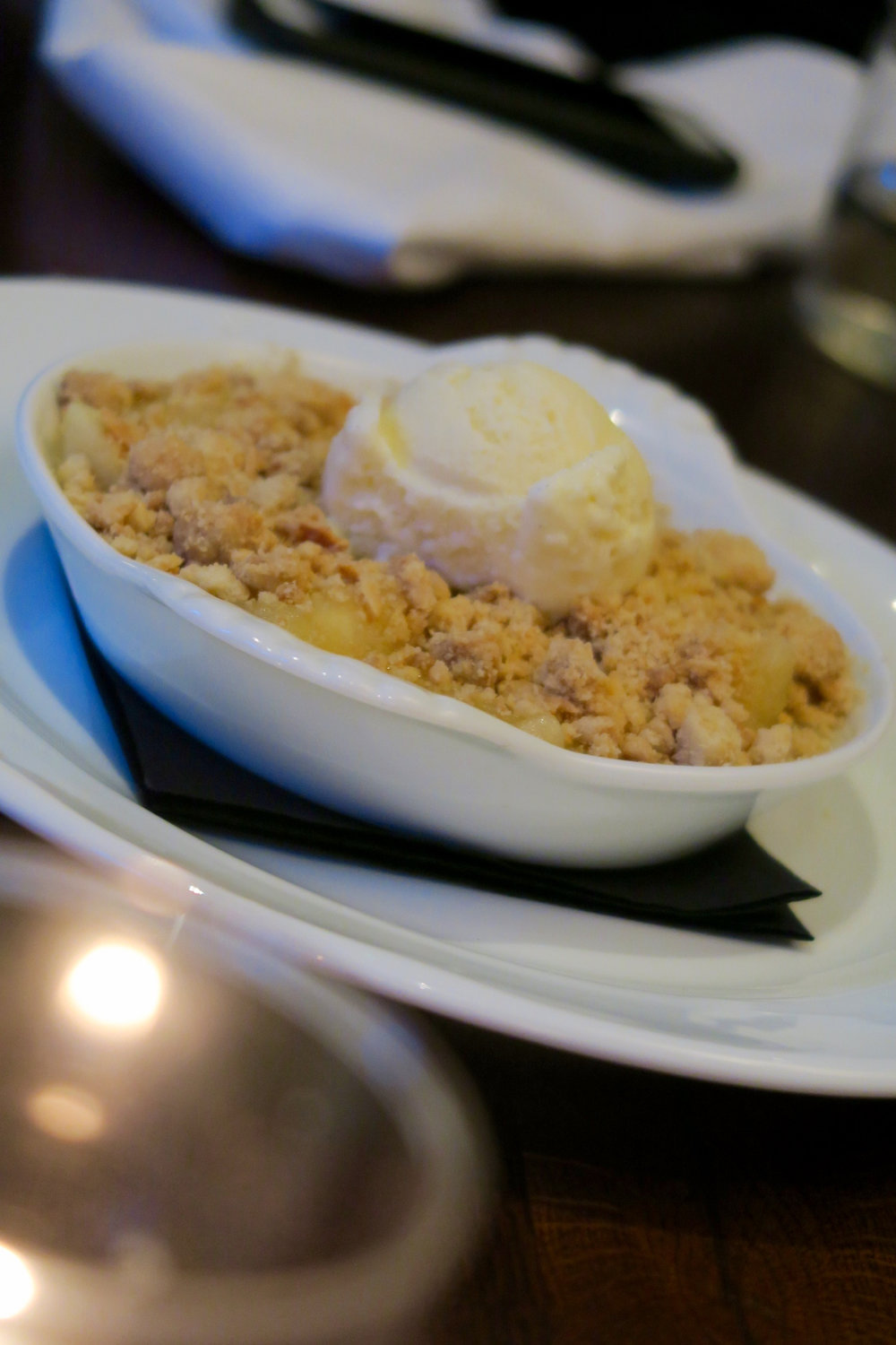 Apple and ginger crumble, ice cream