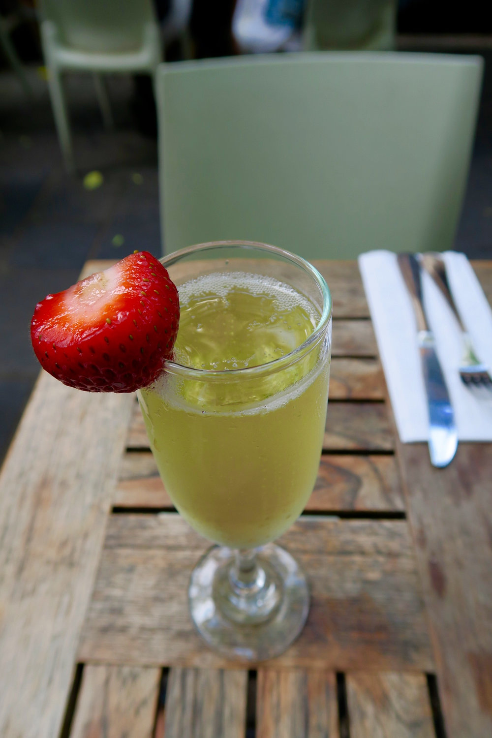 I'm still not sure why they put a strawberry as a garnish on the Crémant. It wasn't brunch.