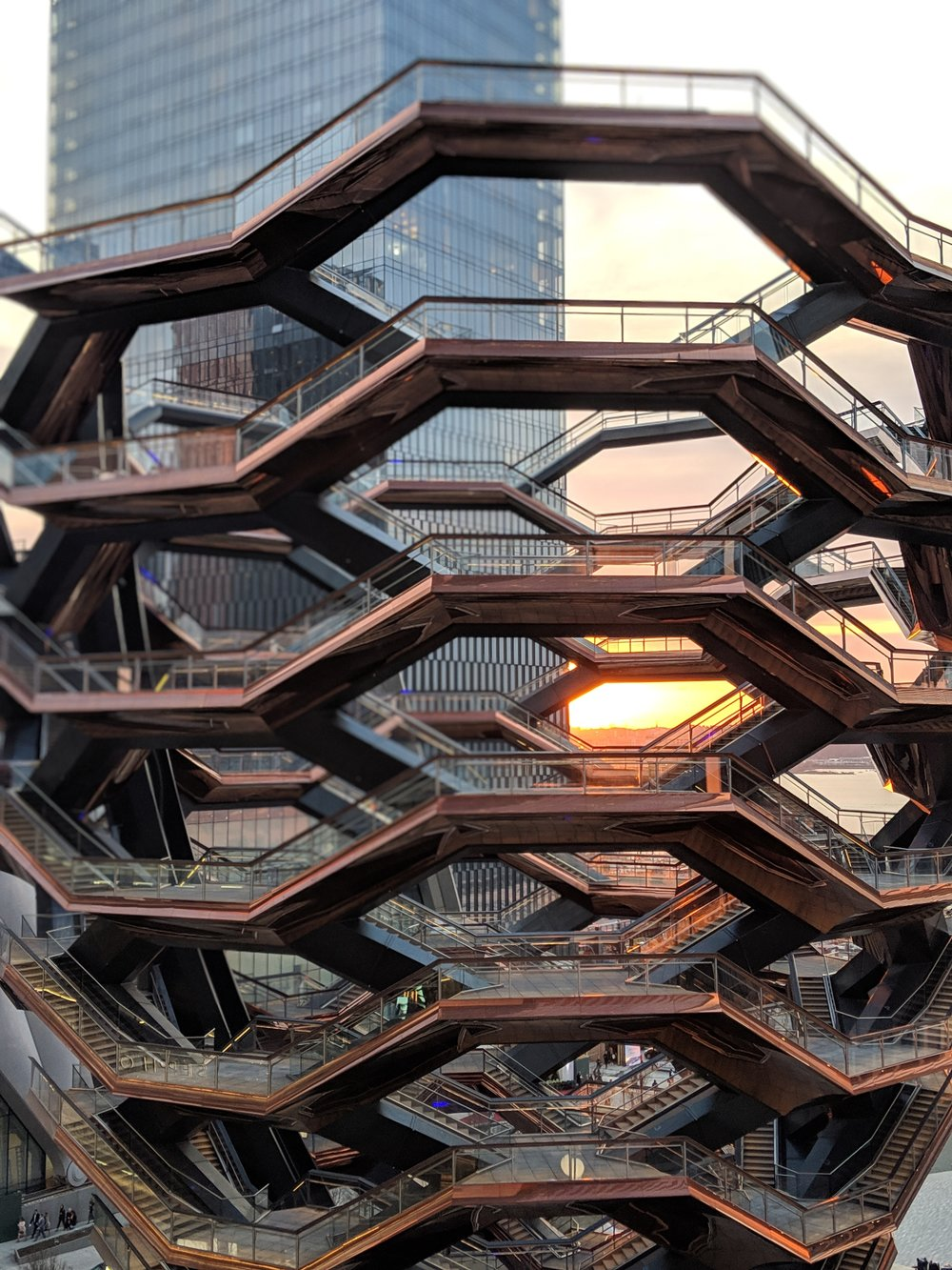 THE VESSEL  A public structure, built as part of the Hudson Yards Redevelopment Project in New York City. Construction started in April 2017 and opened on March 15, 2019.