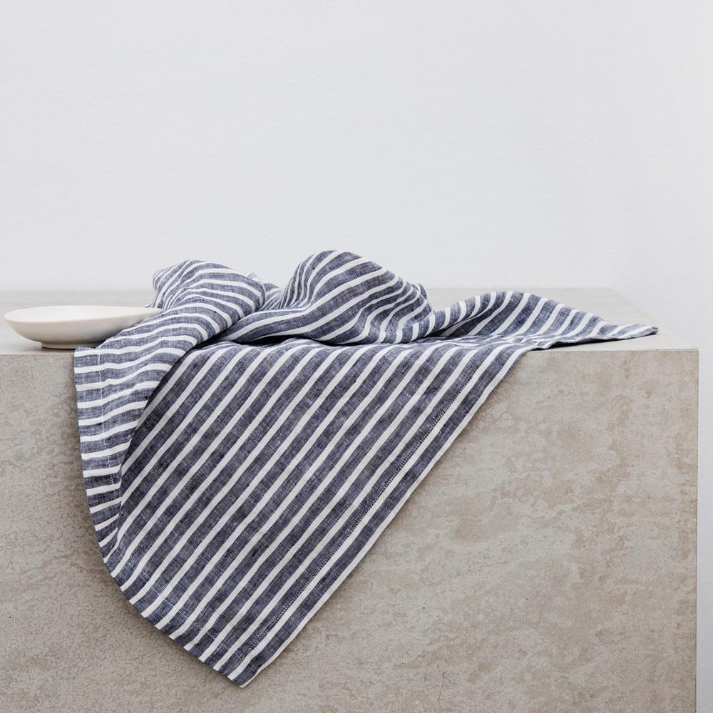 Indigo Stripe Linen Table Napkins