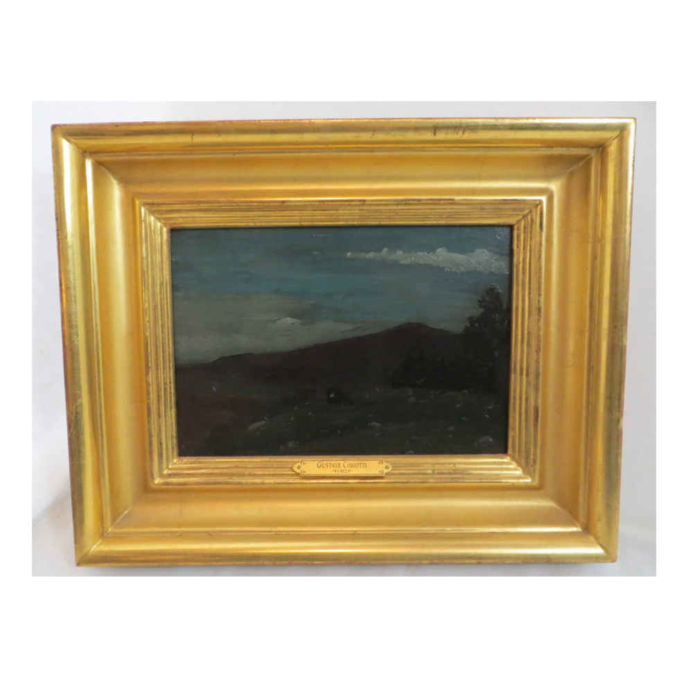 Antique Oil Painting 1902 Gustave Cimiotti Purple Mountains in 22K Fram