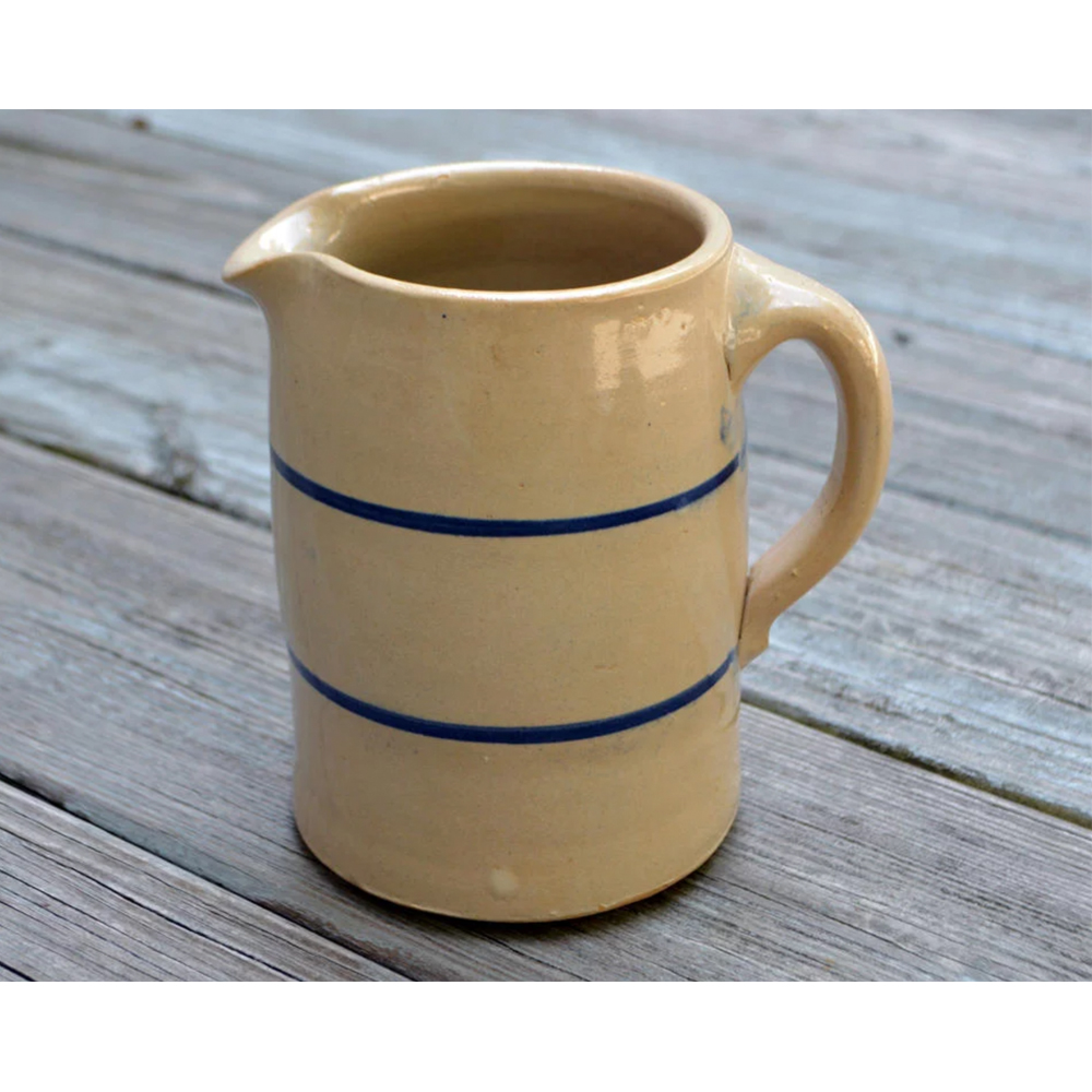 Vintage Hand Thrown Marshall Blue Band Stoneware Pottery Pitcher