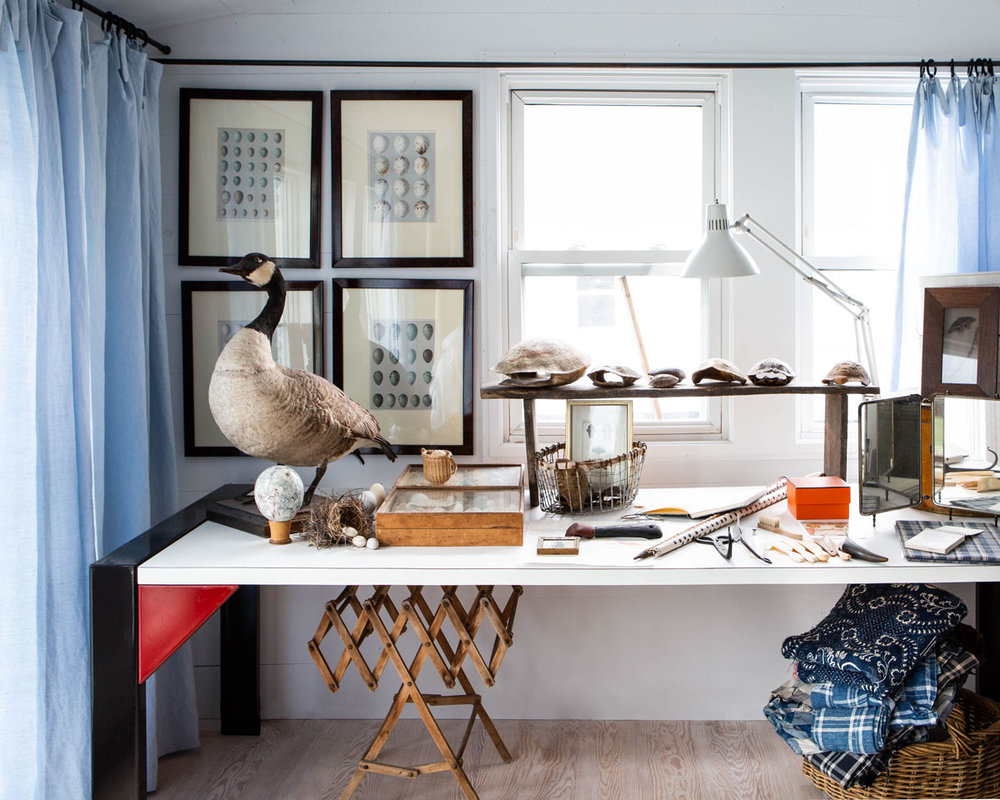 A corner of Sharon and Paul's bedroom is dedicated to an expo of favorite curios (more egg-and-nest collections, a half dozen turtle shells, a taxidermied Canada goose) that evoke the land, the sea, nearby Carver's Pond, and the rugged Northeast.