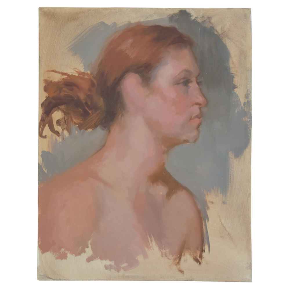 Vintage Female Portrait Oil Painting Study $149