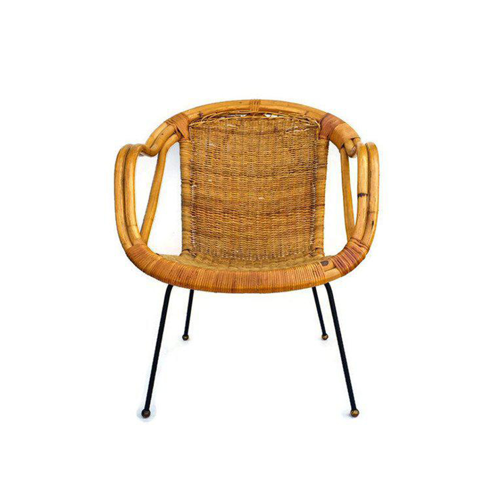 Mid Century Rattan & Sculpted Bamboo Hoop Chair Cast Iron Legs $529