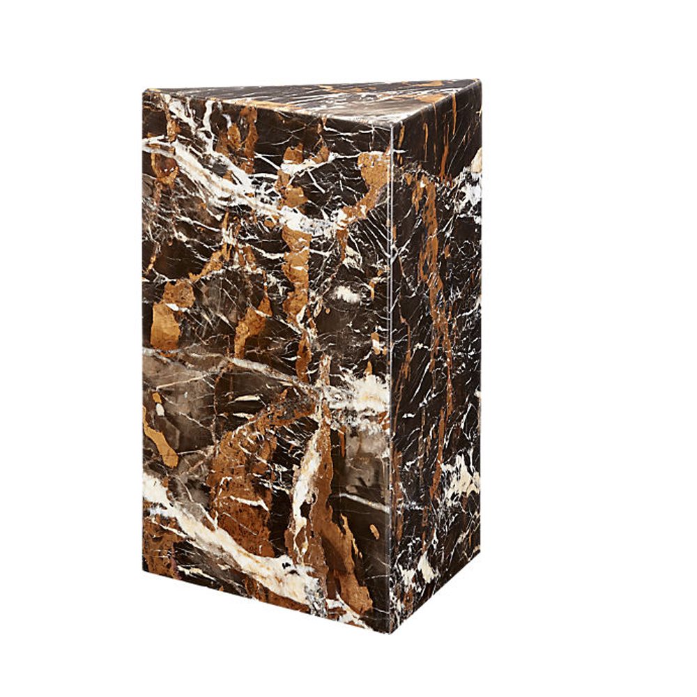 Tri Brown Marble Side Table $349