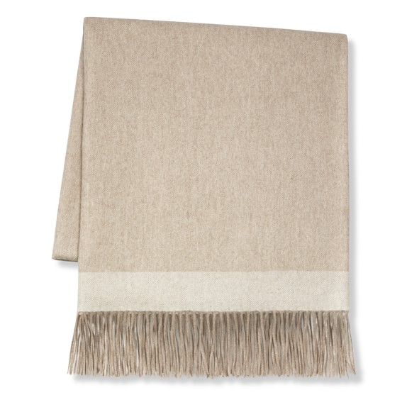 Border Reversible Cashmere Throw, Oatmeal $299