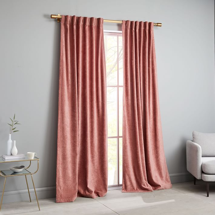 Worn Velvet Curtain, Pink Grapefruit $99