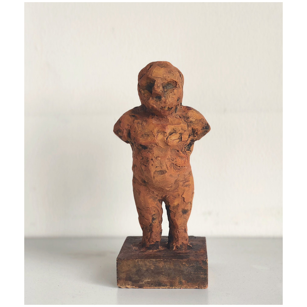"8"" plaster figure with rust patina $750"