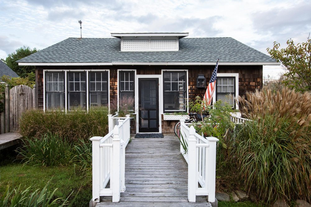 """Everything's on stilts,"" Bates says of Fire Island's flood-resistant houses and other structures. ""Our place is a lower one. We're about four feet off the ground. Since Hurricane Sandy, a lot of people have had to raise their houses; we haven't gotten to that point yet, but we'll probably have to do it in the next few years."""