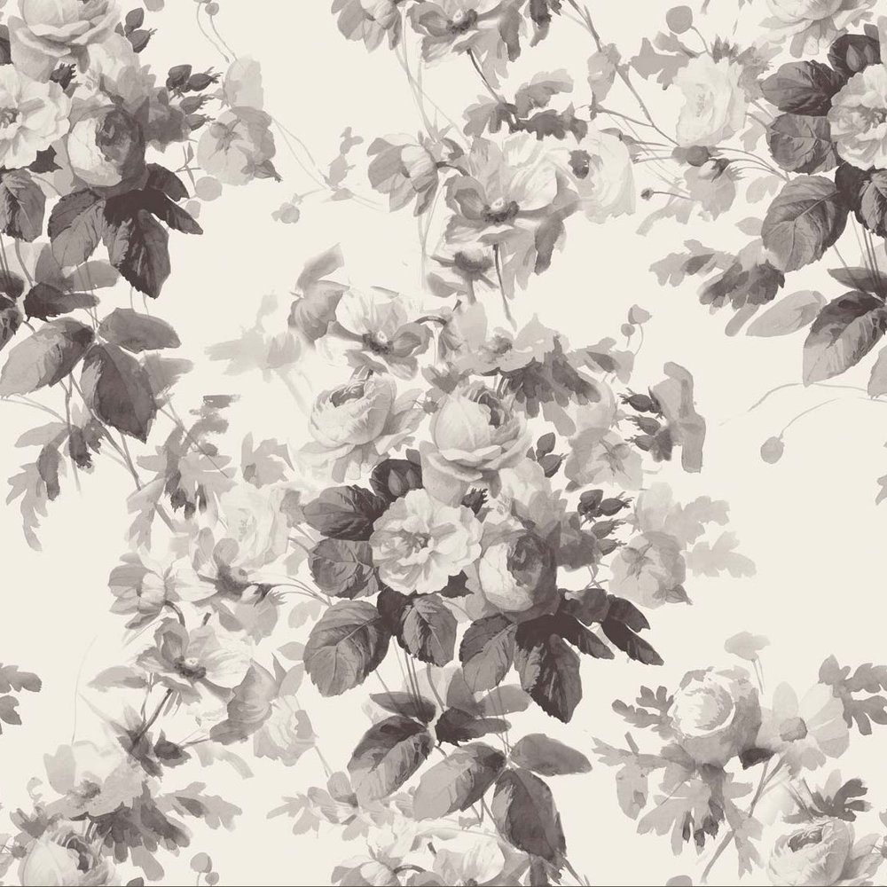 LONDON ROSE Wallpaper - Smoke Grey £85