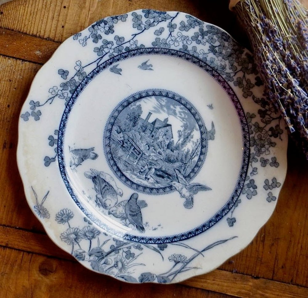 Antique English Flow Blue Plate, 1800s  $26