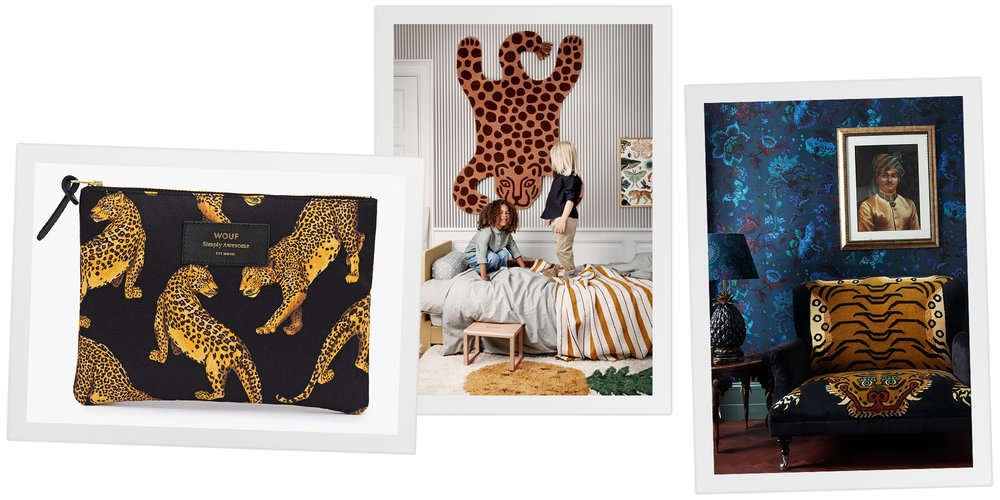 (LEFT)  Black Leopard Large Pouch Bag  by Wouf, (MIDDLE)  Safari Tufted Rug  by Ferm Living, (RIGHT)  SABER 'Bloomsbury' Love Seat  by House of Hackney.