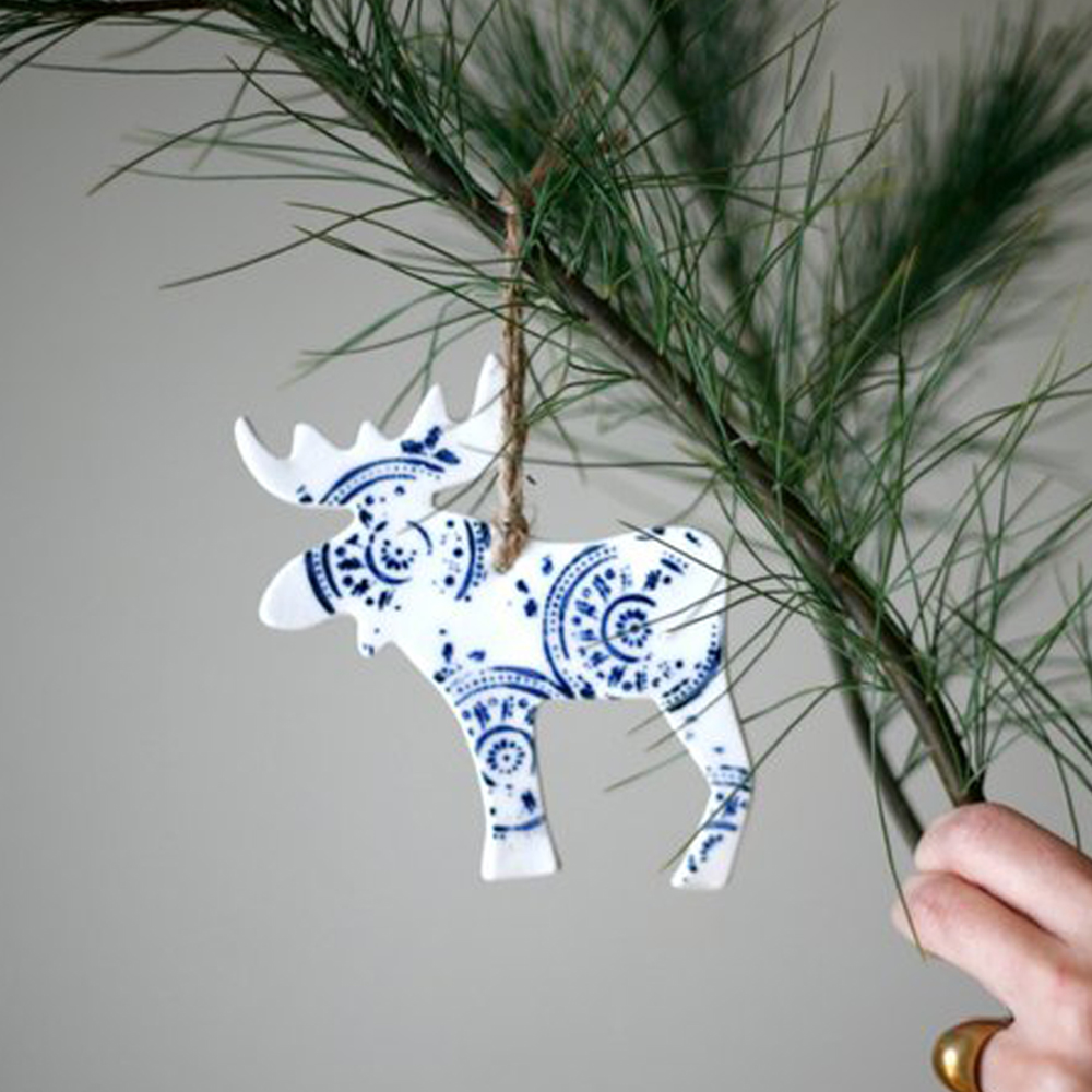 Porcelain Moose ornament $15
