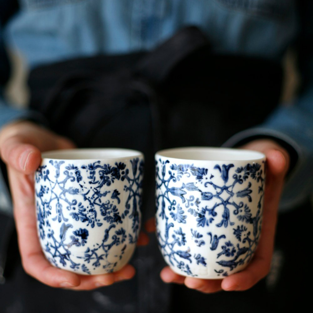 Blue Flowers set of two cups $50