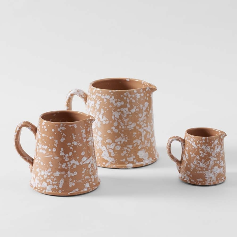 WHITE ON TERRACOTTA SPLATTERWARE PITCHERS