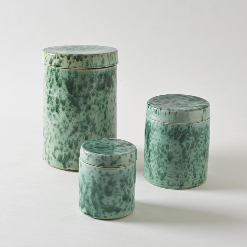 GREEN ON GREEN SPLATTERWARE CANISTERS, $55-75