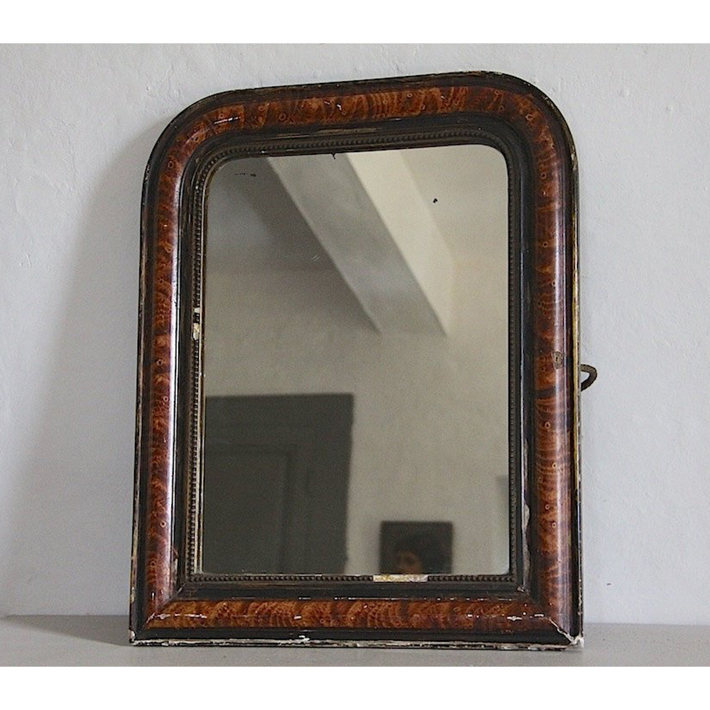 Antique French Mirror with Original Faux Tortoise Shell Paint Finish $266.52