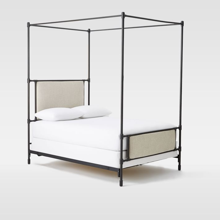 Rhodes Upholstered Metal Canopy Bed, from $1499
