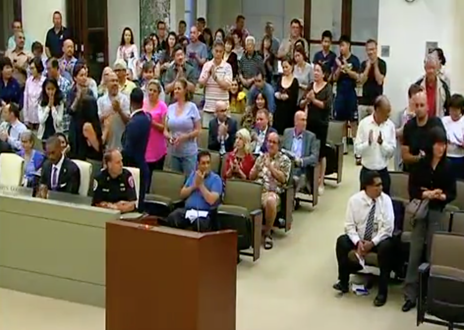 Members of the vellano community demonstrate their unity at the june 26 city council meeting