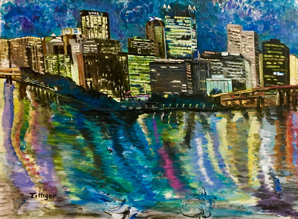 MY HOME TOWN    This is an 18 x 24 marbling and painting of Pittsburgh, PA near where I live. It is a night view. The city is so pretty in the evening.