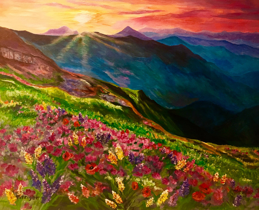 MOUNTAIN FLOWERS    This 16 x 20 painting was created from an Art class that I taught at Word Alive Church. It has special meaning because we painted, and sang together, worshiping the Lord.