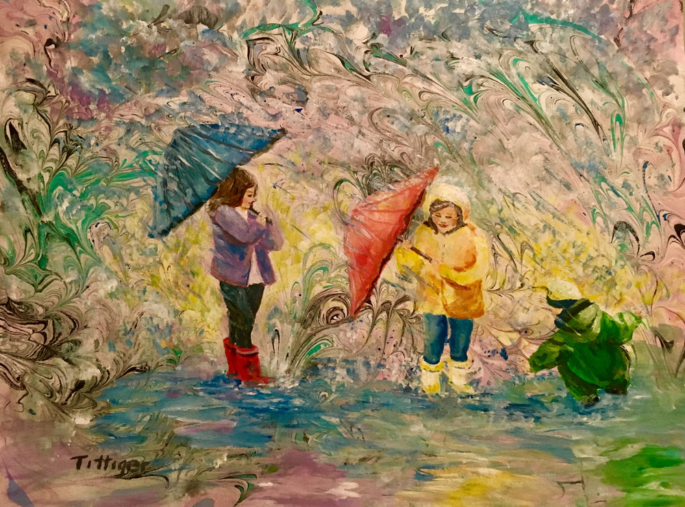 PUDDLES   This 16 x 20 acrylic marbling background with acrylic painting layered on top depicts the joy children find playing in puddles on a rainy day.