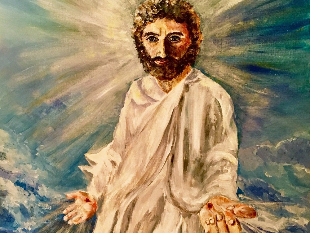 JESUS GLORIFIED    A 16 x 20 acrylic painting of Jesus after the resurrection. I painted this for our church and they used it in our 2018 Easter celebration. He is risen!