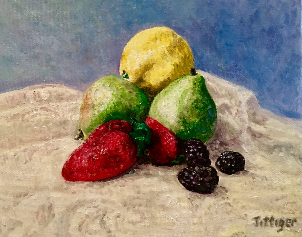 FRUIT MEDLEY   This is a still life of fruit. I arranged the fruit over lace and painted this in oil. It is not framed. As with all my oils, it is varnished to protect the colors.