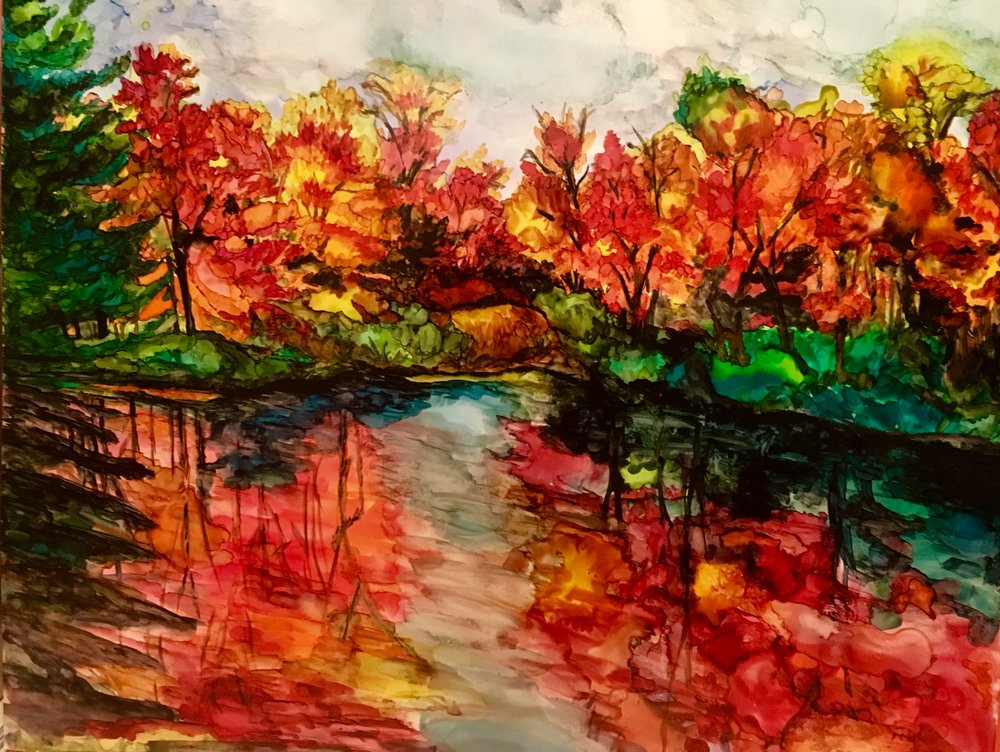 AUTUMN BRILLIANCE    This is a 11 x 14 alcohol ink painting. Fall is my favorite time of the year.