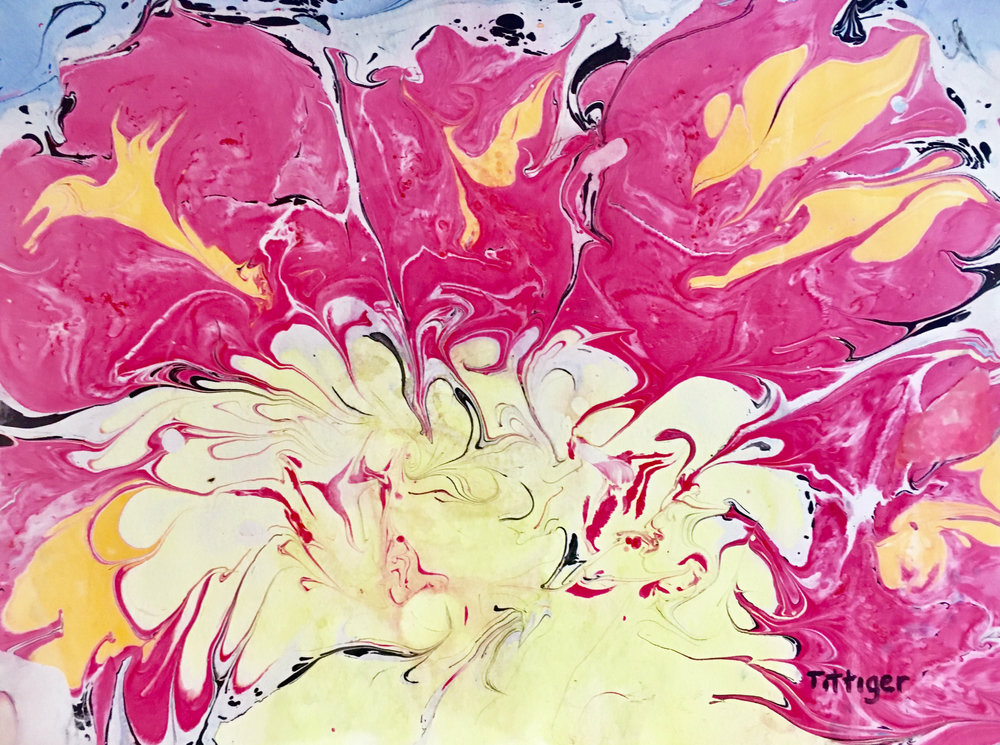 PEONY   This is an 18 x 24 Acrylic Marbling. This is a large floral painting. It looks like the center of a peony.