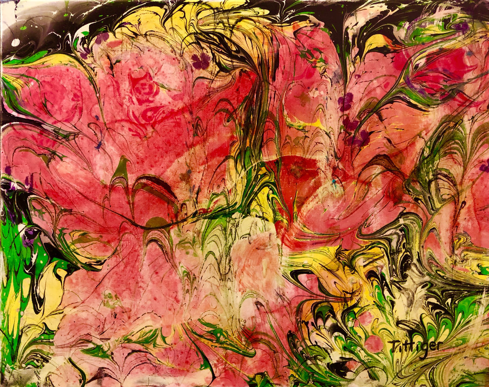 HIDDEN ROSES   This is a 16 x 20 acrylic marbling on canvas. It has been marbled twice. The painting has also been varnished to give it a nice shine and to protect the paint.   Original is no longer available only prints.