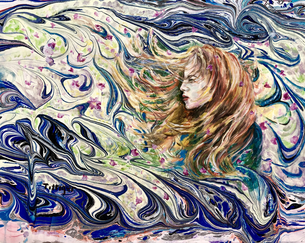 IN THE WIND    This started as an acrylic marbling and then I added a portrait over top of it. The girl is supposed to be part of the wind and her hair flows along with the wind.
