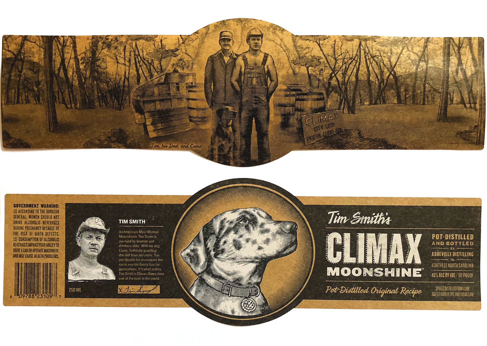 Flexography - This Tim Smith's Climax Moonshine label was produced with flexography and features backprinting, a technique specific to flexographic printing techniques.