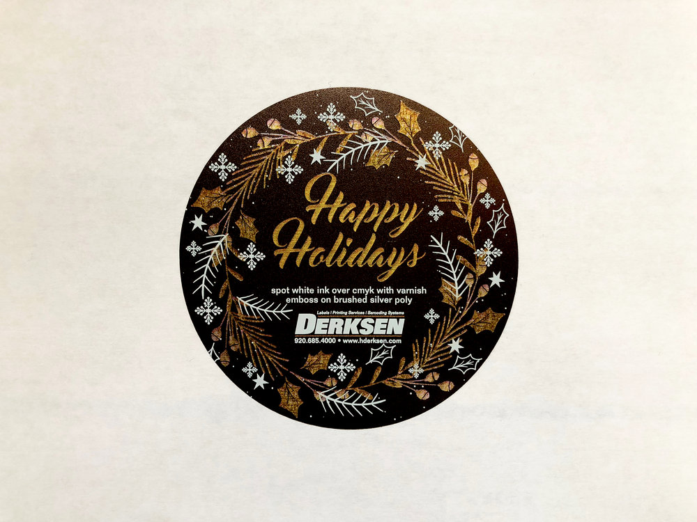 Derksen Co. Holiday Label with Metallic Accents