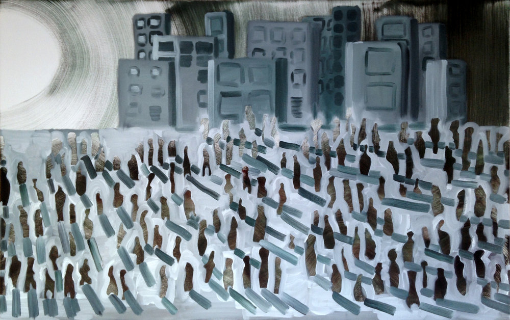 The long commute - 2017 oil on canvas 20x48inch