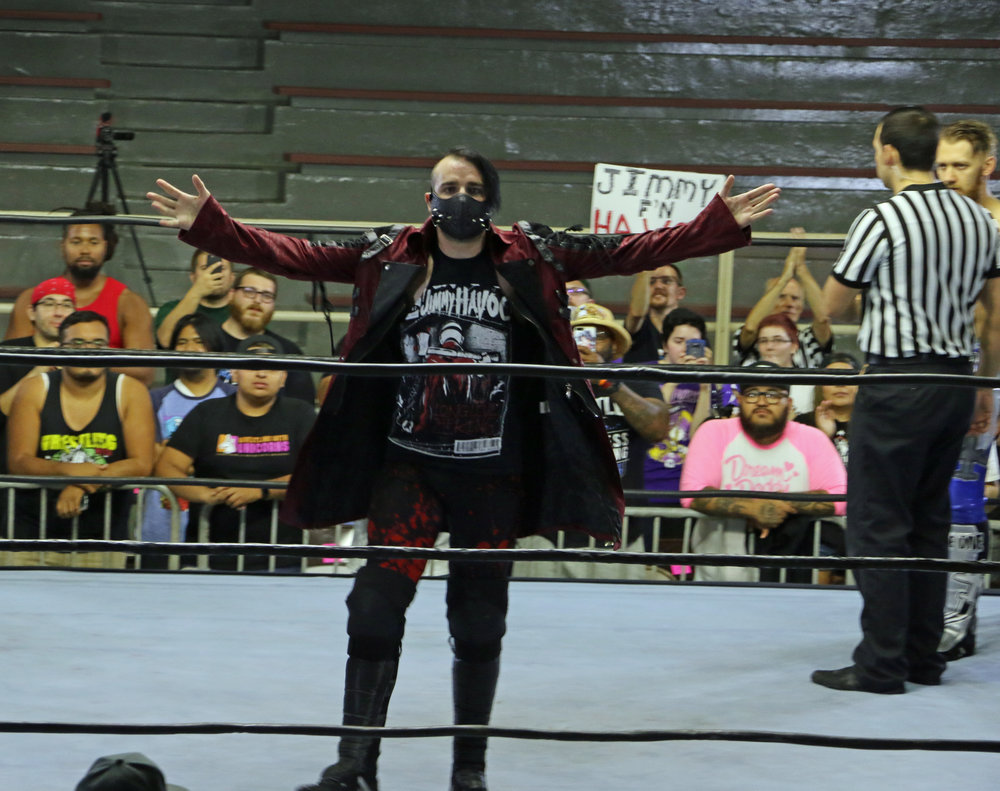 Jimmy Havoc poses for the crowd before his match with Mark Andrews.
