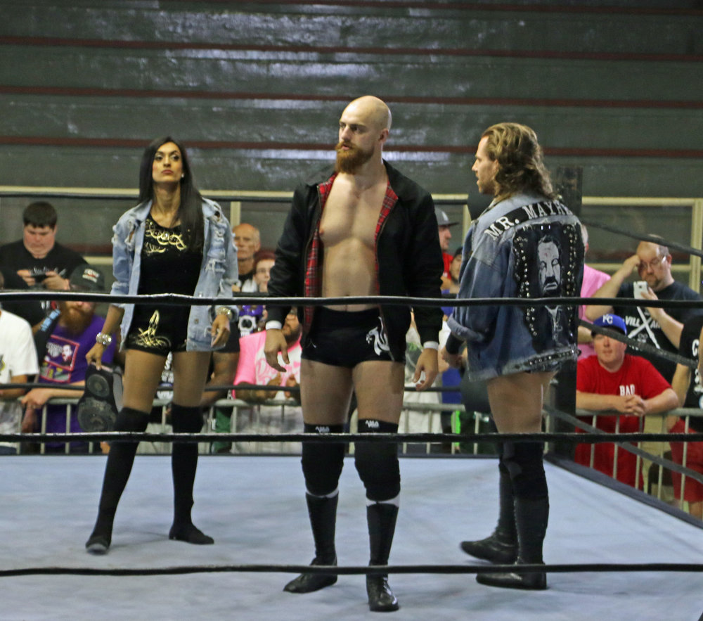 PROGRESS Women's Champion Jinny, from left, with her partners Zack Gibson and James Drake before the six-person intergender match.