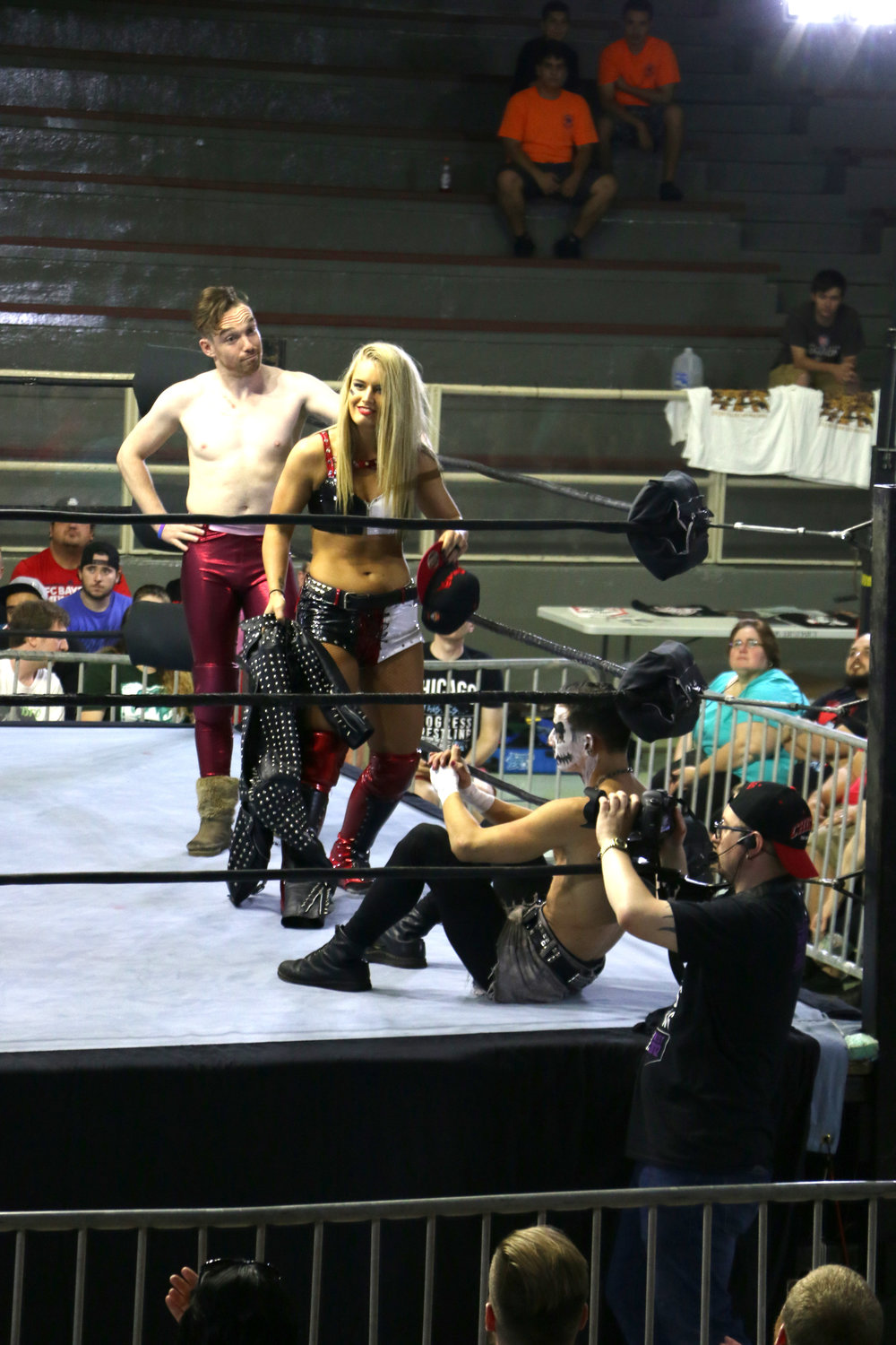 The team of Jack Sexsmith, from left, Toni Storm and Darby Allin gear up for the six-person intergender bout.