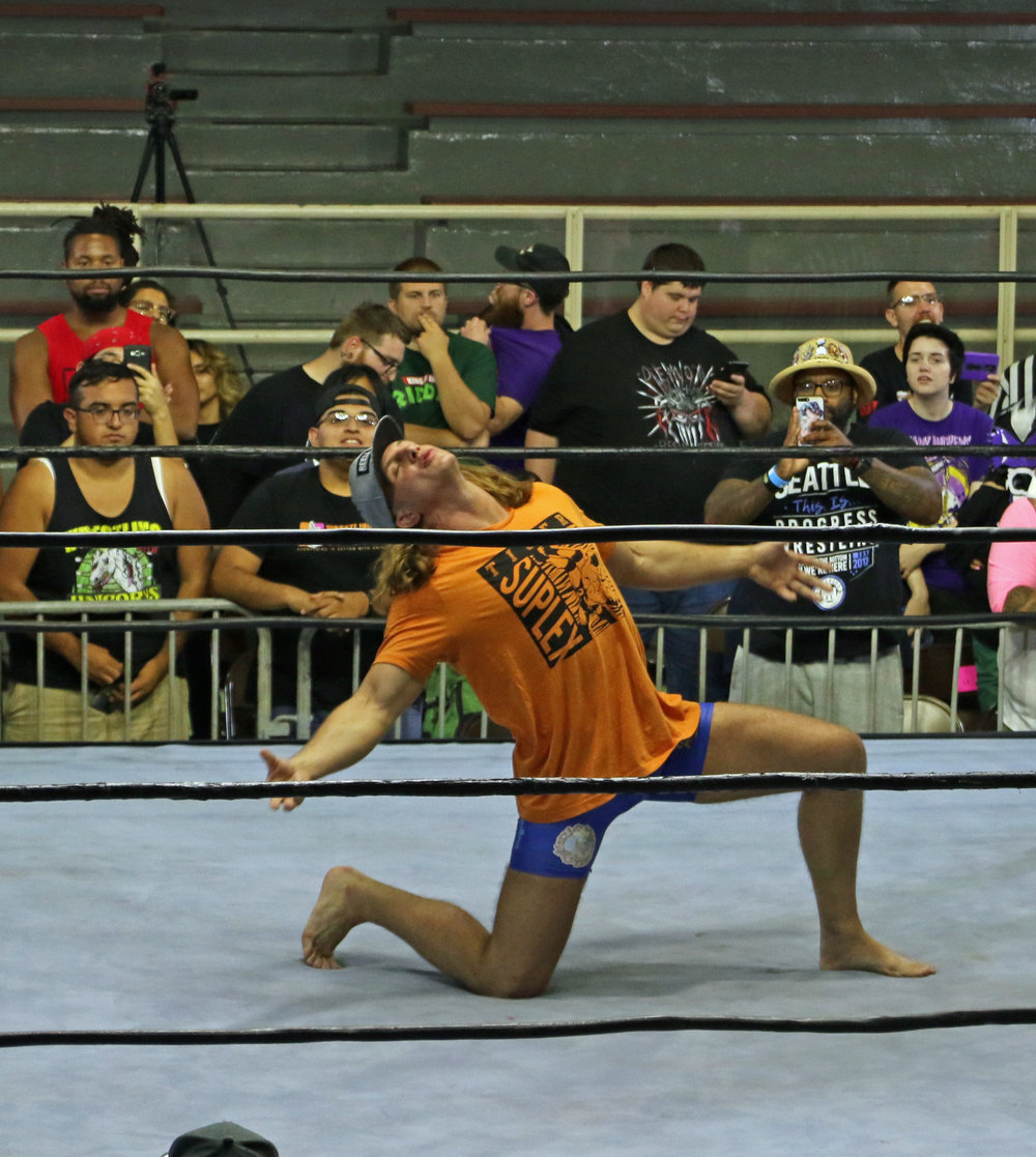 Matt Riddle poses to the adulation of the crowd before the four-way match.
