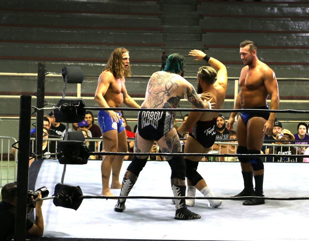 Just before the action gets hot in the four-way match, Matt Riddle (from left), Brody King, Trent Seven and Elliot Sexton face off.