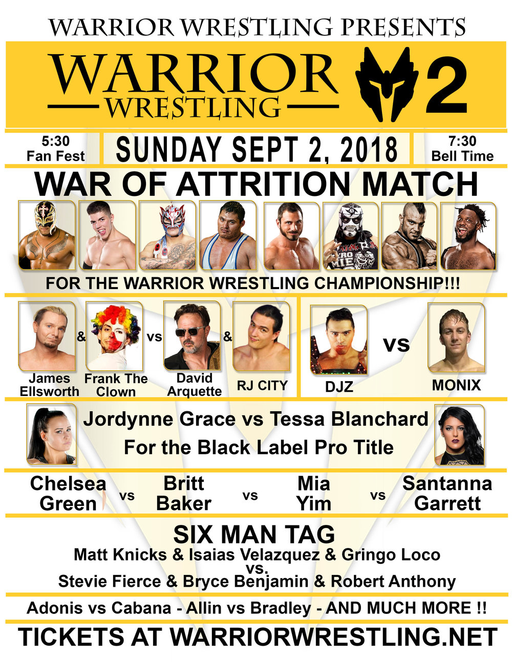 The Warrior Wrestling 2 match card.  (Photo courtesy of Warrior Wrestling)