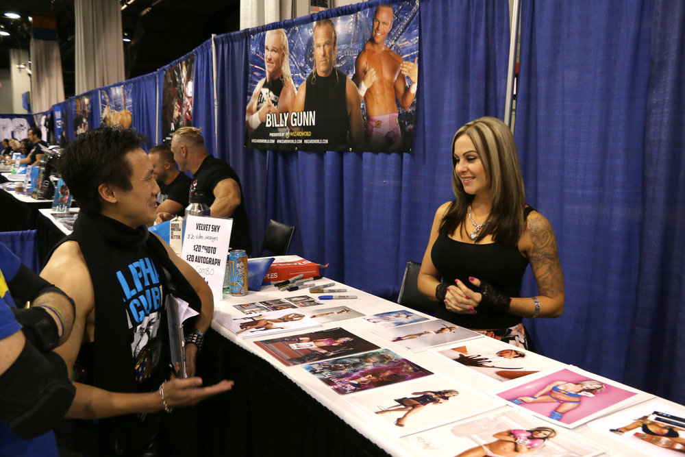 Andrew Man (as Chris Jericho) talks to former IMPACT Wrestling Knockout Velvet Sky.