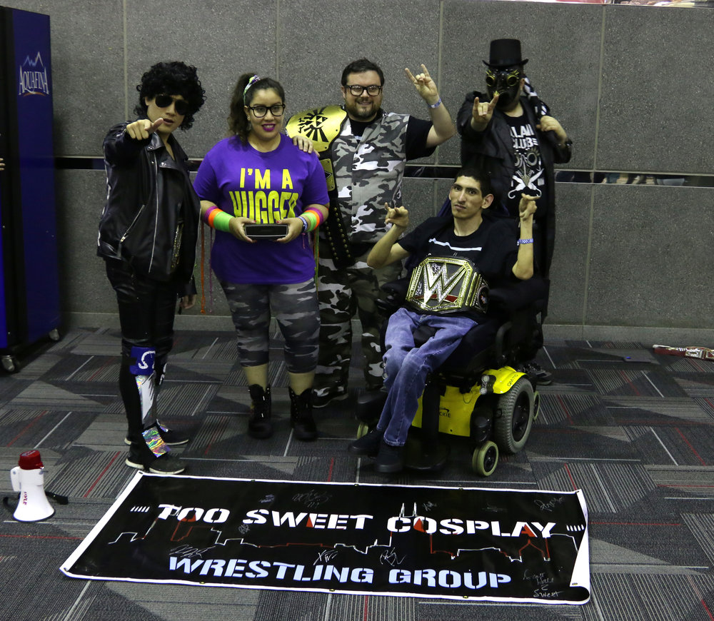"The heads of Too Sweet Cosplay, Andrew Man (from left), Raquel Cee, Steve ""Stvo"" Jay, Nikolas Melendez and Ezra Vickrey, pose in the lobby."