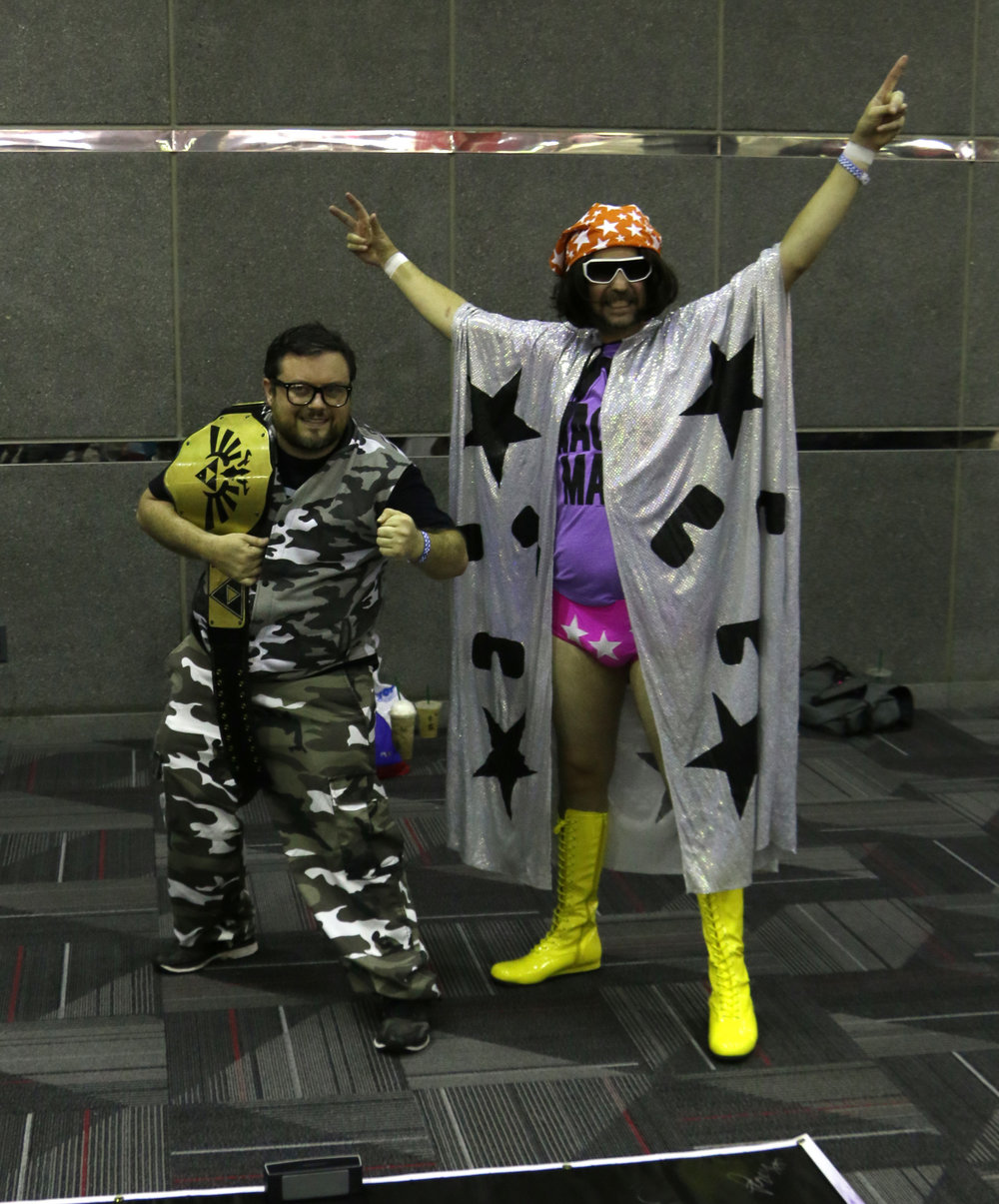 "Bubba Ray Dudley and Randy ""Macho Man"" Savage cosplayers."