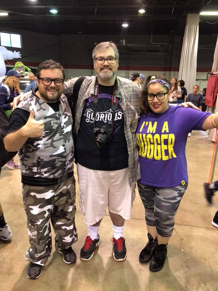 Windy City Slam editor Mike Pankow, center, with Steve Jay (as Bubba Ray Dudley), left, and Raquel Cee (Bayley).