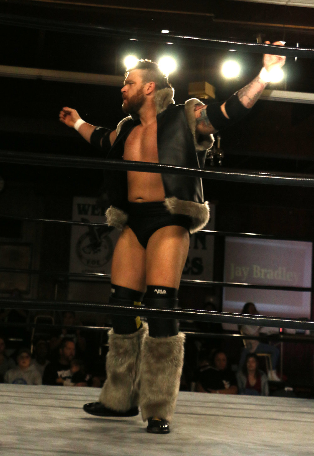 Jay Bradley in the ring before his match against Steve Michaels.