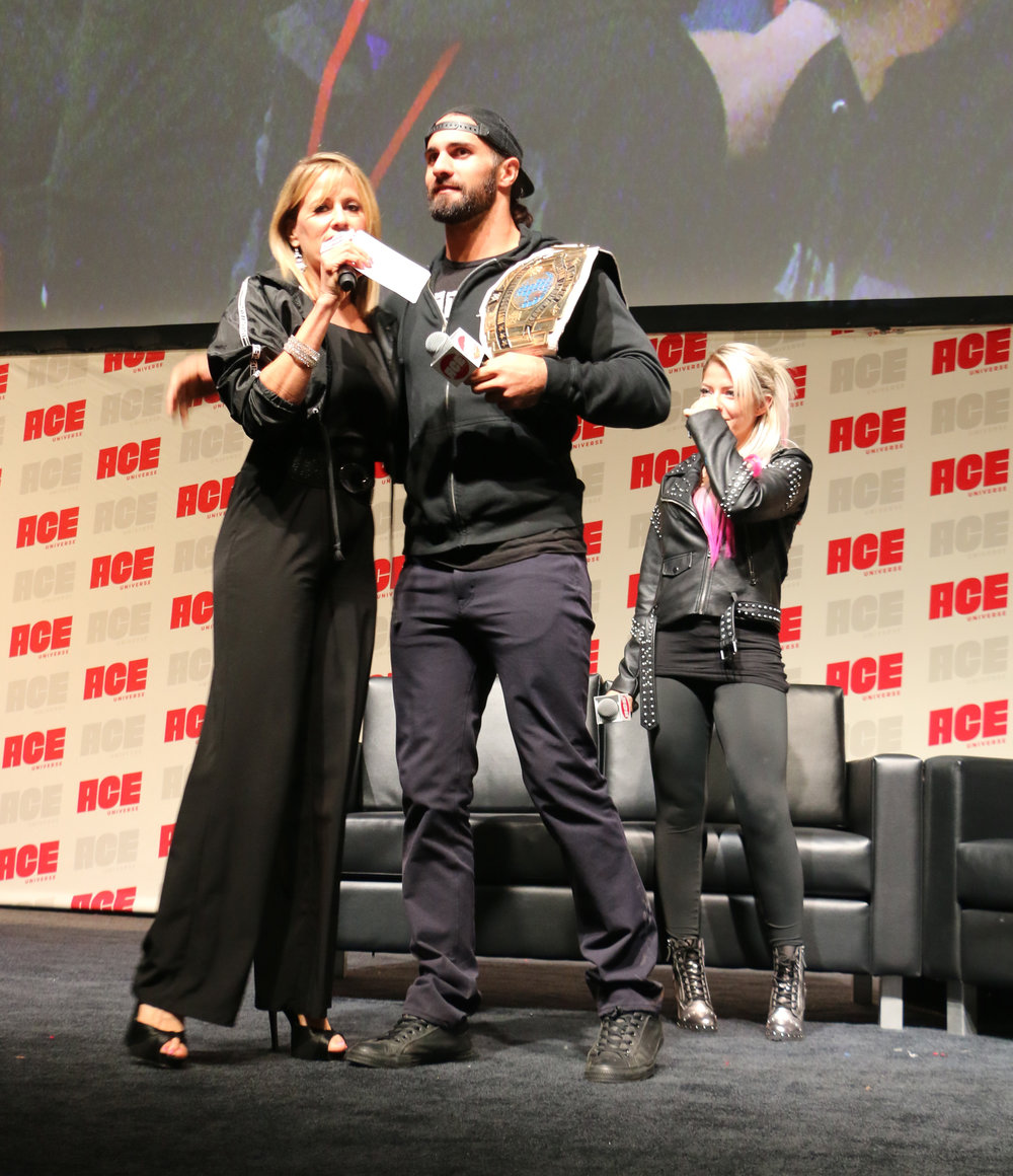 Lilian Garcia introduces WWE Intercontiental Champion Seth Rollins for his panel.