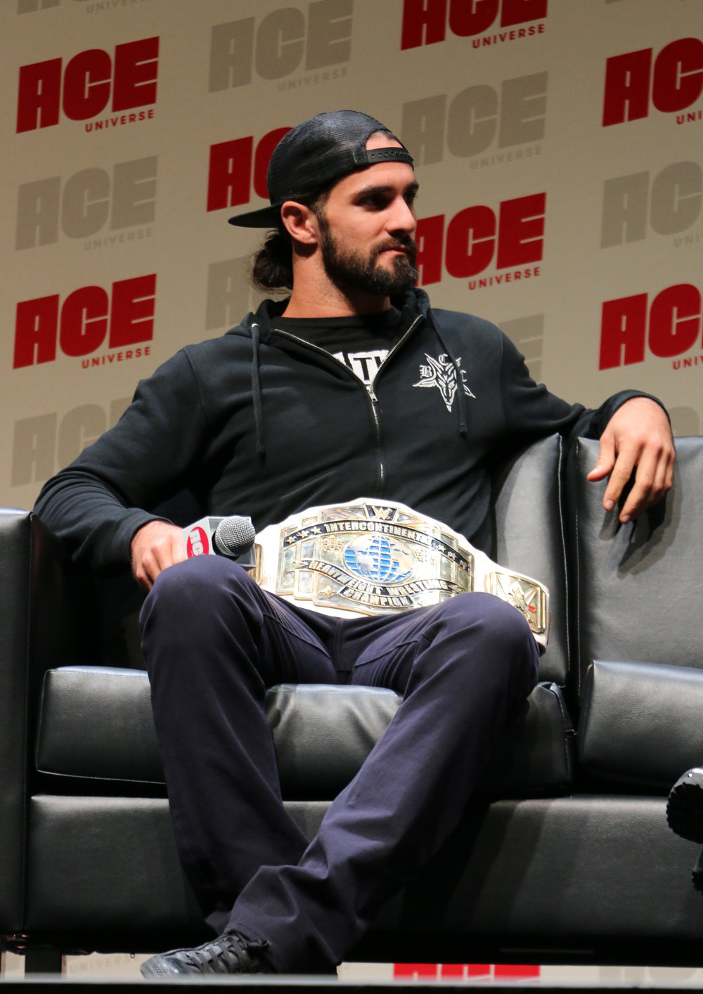 WWE Intercontinental Champion Seth Rollins awaits a question during the WWE panel.